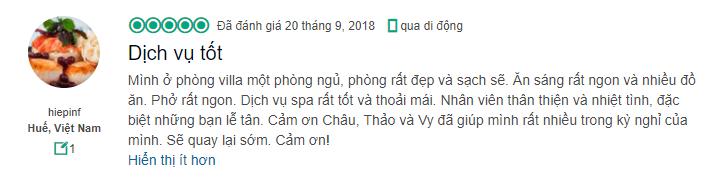 Lời đánh giá của hiepinf về naman resort đà nẵng