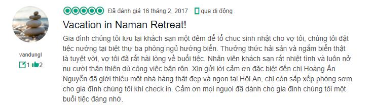 Đánh giá về một kỳ nghỉ tuyệt vời tại Naman Đà Nẵng