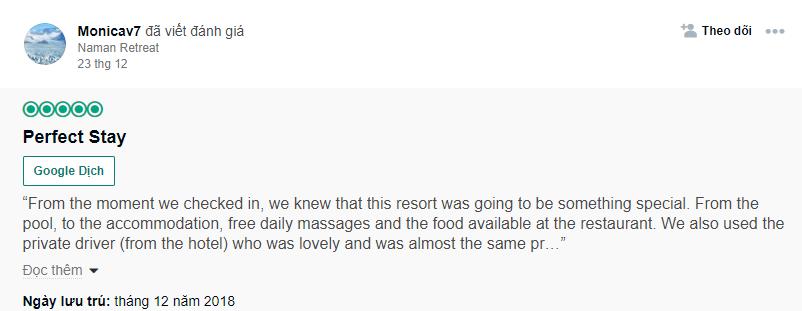 Đánh giá của Monicav7 về resort Naman Đà Nẵng