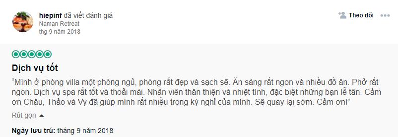 Cảm nhận của một chàng trang về Villa 1 phòng ngủ Naman Đà Nẵng
