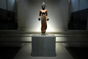 Hiện vật tượng Phật Bà Tara cao 114m bằng đồng cao nhất Việt Nam tại Bảo tàng điêu khắc Chăm Đà Nẵng